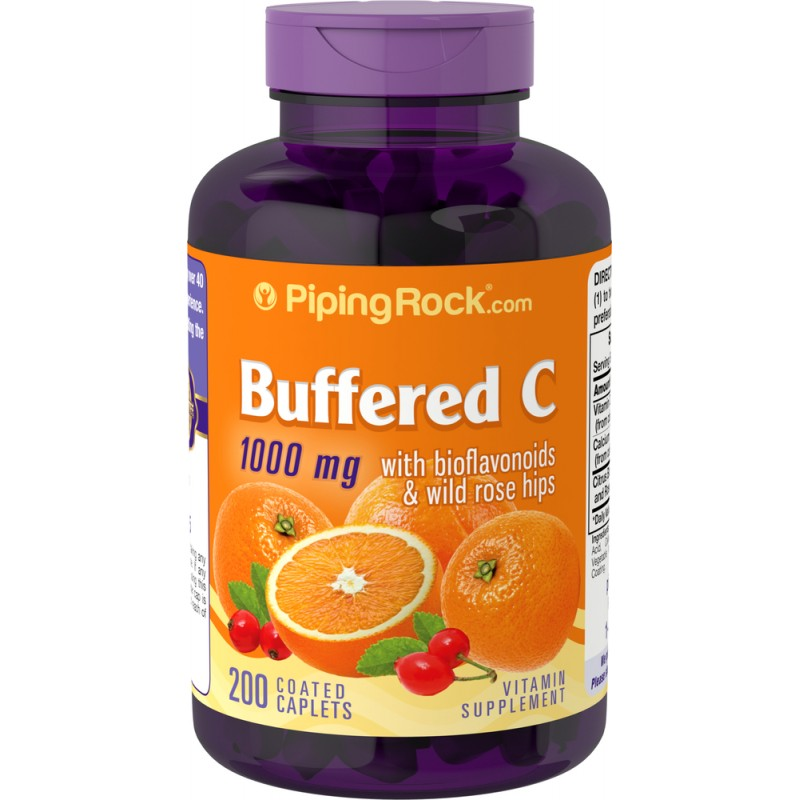 Buffered C 1000 mg with Bioflavonoids & Rose Hips 200 Coated Caplets